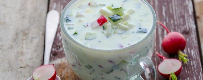 Вегетарианская окрошка на тофу