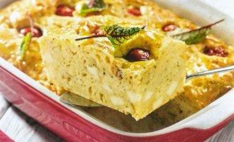 Сырный пирог с помидорами на кефирном тесте