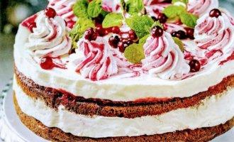 Торт с медовыми коржами, сливочно-йогуртовым муссом и клюквой