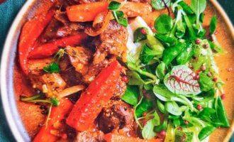 Говядина, томленая с овощами и горчицей